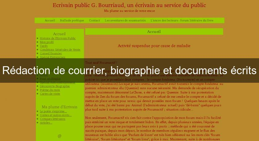 Rédaction de courrier, biographie et documents écrits