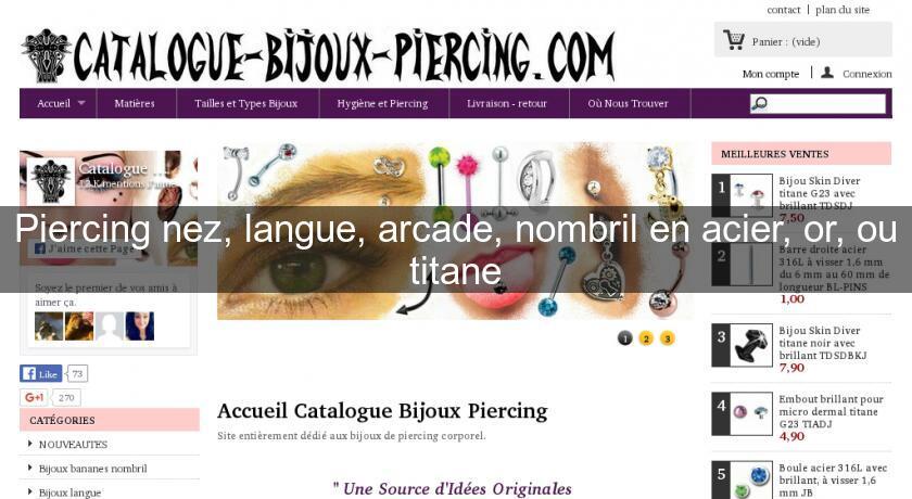 piercing nez langue arcade nombril en acier or ou titane bijoutier. Black Bedroom Furniture Sets. Home Design Ideas
