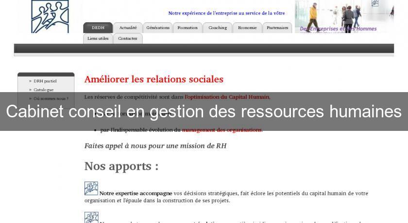 Cabinet conseil en gestion des ressources humaines - Cabinet de conseil en ressources humaines ...