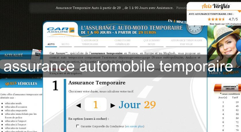 assurance automobile temporaire