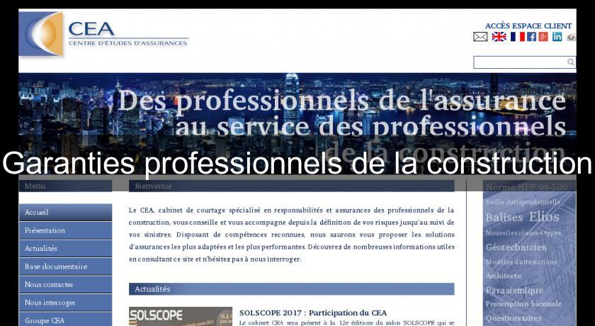 Garanties professionnels de la construction