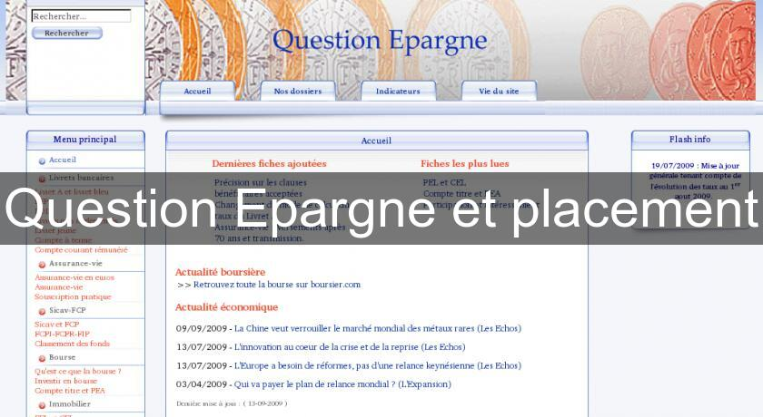 Question Epargne et placement