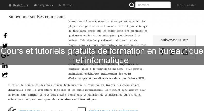 cours de bureautique gratuit pdf