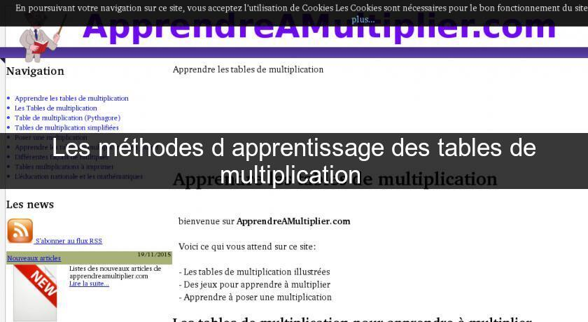 Les m thodes d 39 apprentissage des tables de multiplication - Apprentissage table de multiplication ...