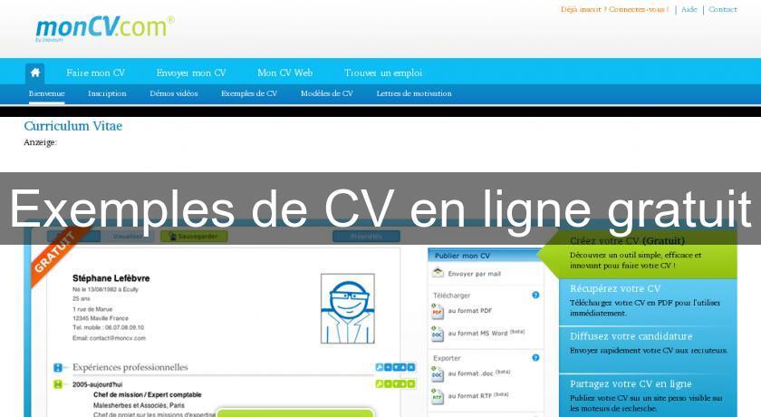 exemples de cv en ligne gratuit emploi et stages
