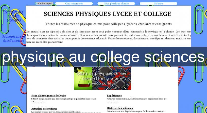 physique au college sciences