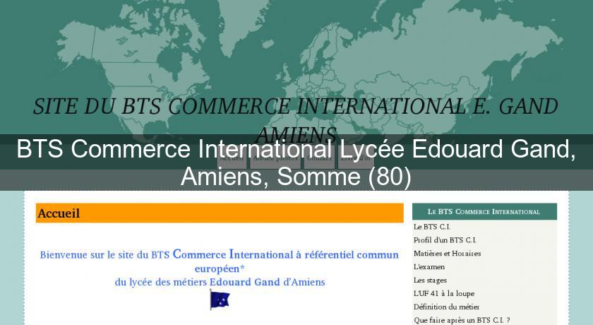 BTS Commerce International Lycée Edouard Gand, Amiens, Somme (80)