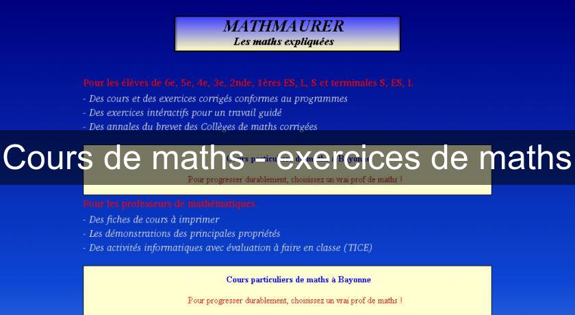 Cours de maths - exercices de maths