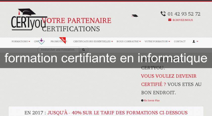 formation certifiante en informatique