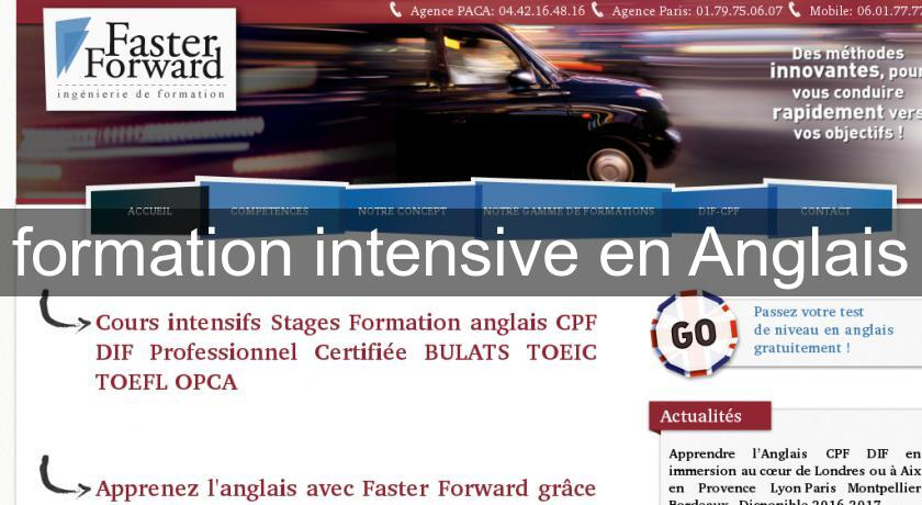 formation intensive en Anglais