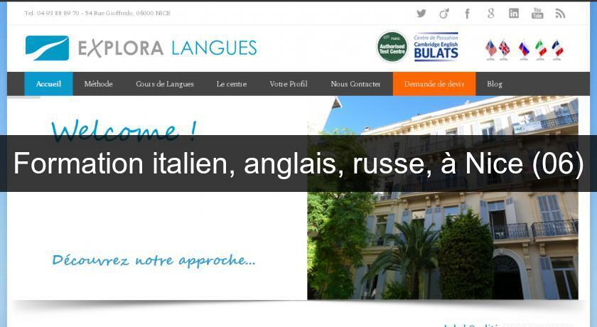 Formation italien, anglais, russe, à Nice (06)