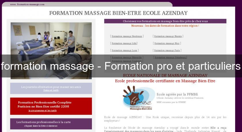 formation massage - Formation pro et particuliers