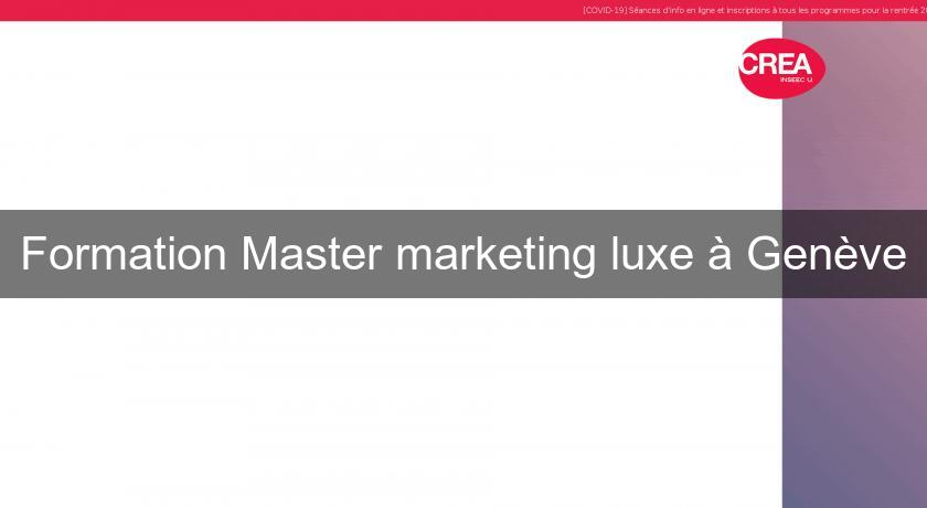 Formation Master marketing luxe à Genève