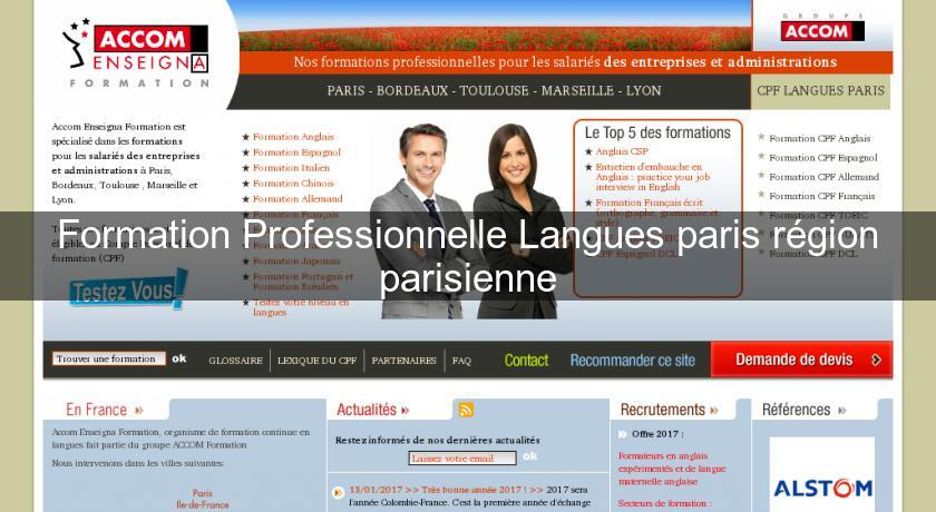 Formation Professionnelle Langues paris région parisienne