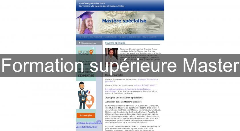 Formation supérieure Master