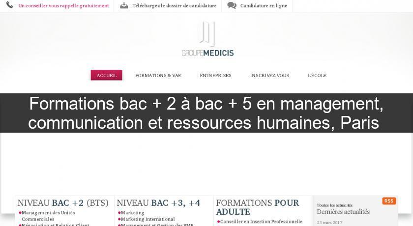 Formations bac + 2 à bac + 5 en management, communication et ressources humaines, Paris