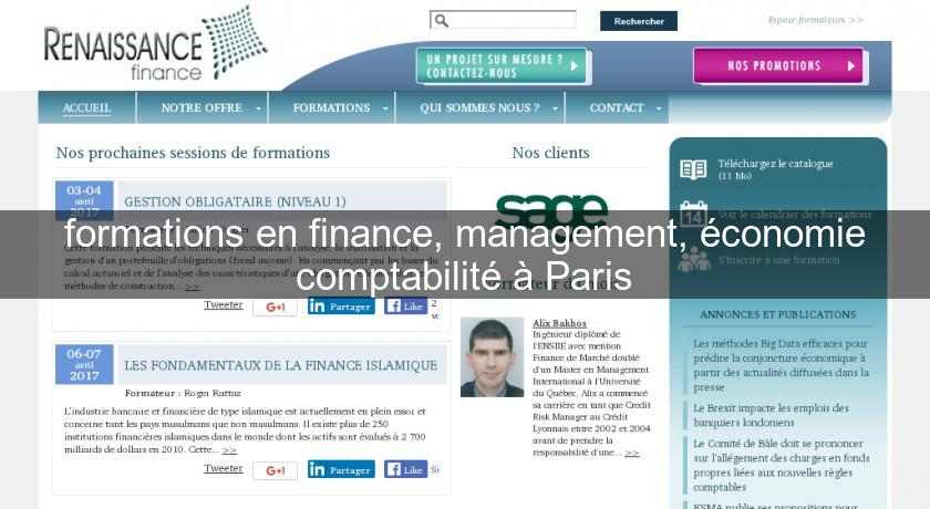 formations en finance, management, économie comptabilité à Paris
