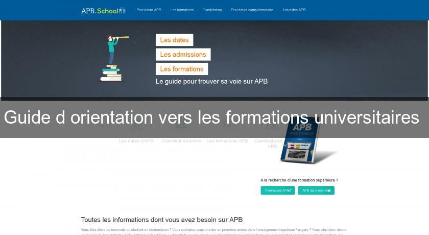 Guide d'orientation vers les formations universitaires