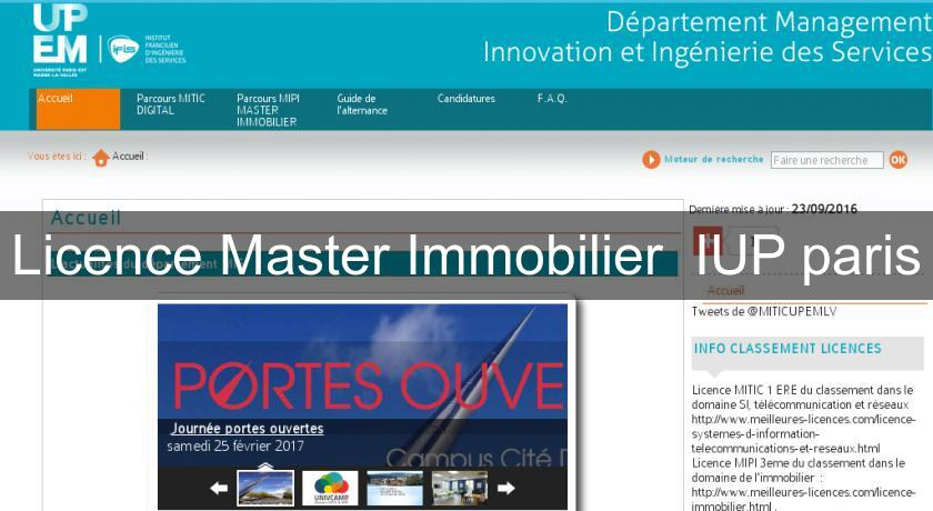 Licence Master Immobilier  IUP paris