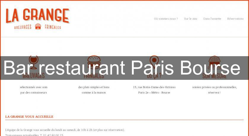 Bar restaurant Paris Bourse