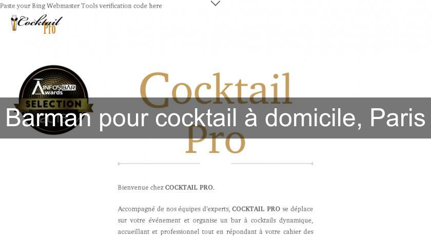 Barman pour cocktail à domicile, Paris
