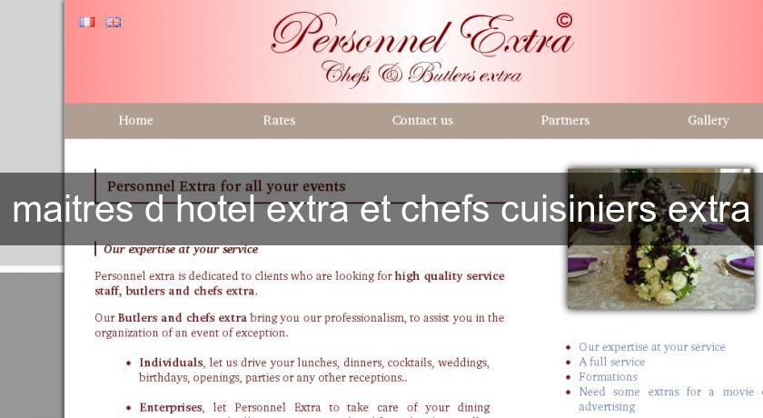 maitres d'hotel extra et chefs cuisiniers extra