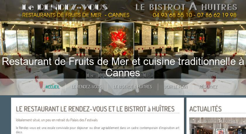 Restaurant de Fruits de Mer et cuisine traditionnelle à Cannes