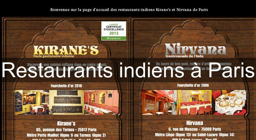 Restaurants indiens à Paris