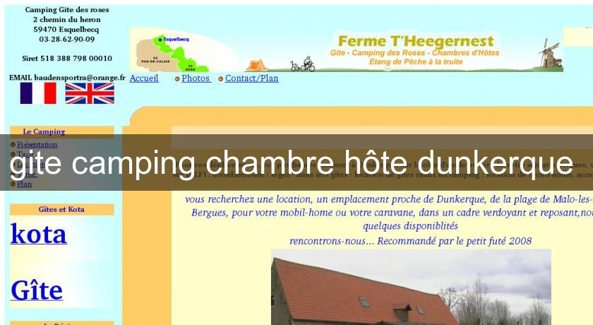 gite camping chambre hôte dunkerque