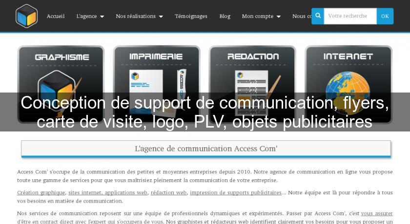 Conception de support de communication, flyers, carte de visite, logo, PLV, objets publicitaires