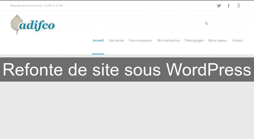 Refonte de site sous WordPress