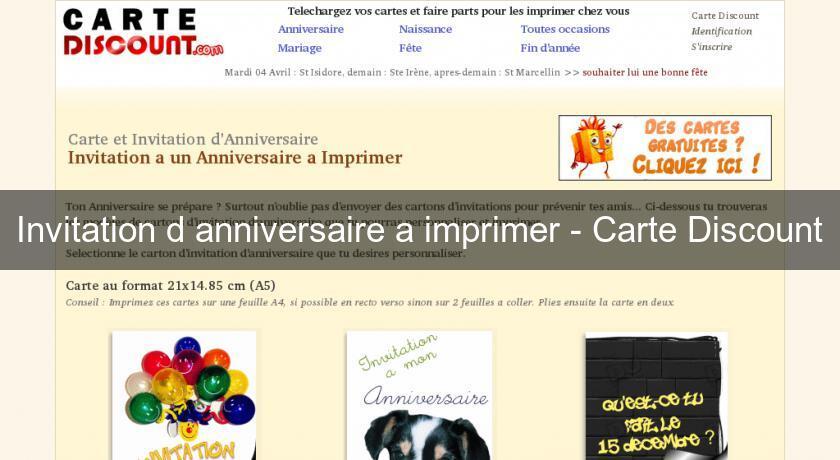 invitation d 39 anniversaire a imprimer carte discount. Black Bedroom Furniture Sets. Home Design Ideas