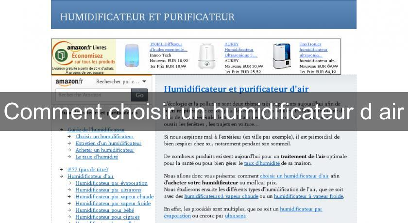 Comment choisir un humidificateur d'air