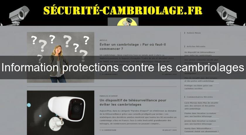 Information protections contre les cambriolages