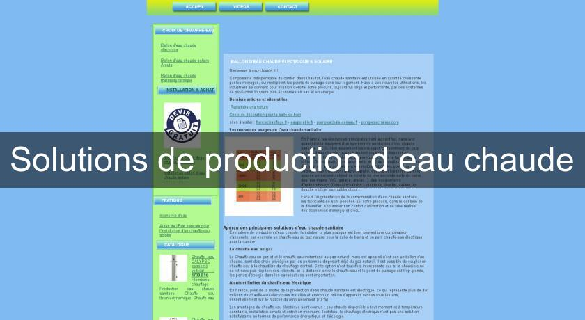 Solutions de production d'eau chaude