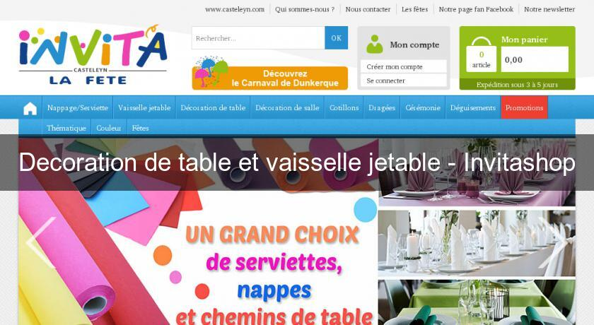 Decoration de table et vaisselle jetable - Invitashop