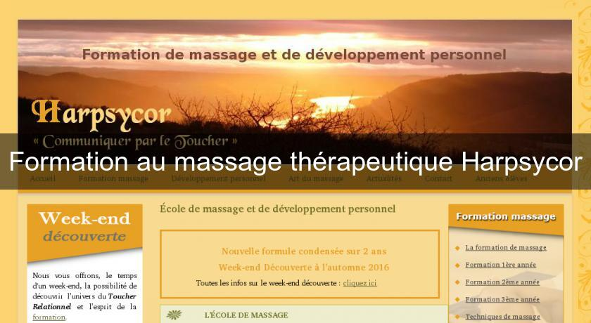 Formation au massage thérapeutique Harpsycor