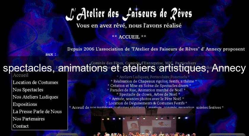 spectacles, animations et ateliers artistiques, Annecy