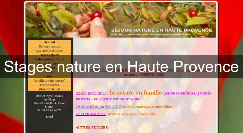 Stages nature en Haute Provence