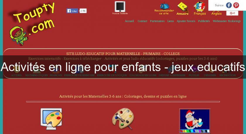 Activites En Ligne Pour Enfants Jeux Educatifs Eveil Et Educatif