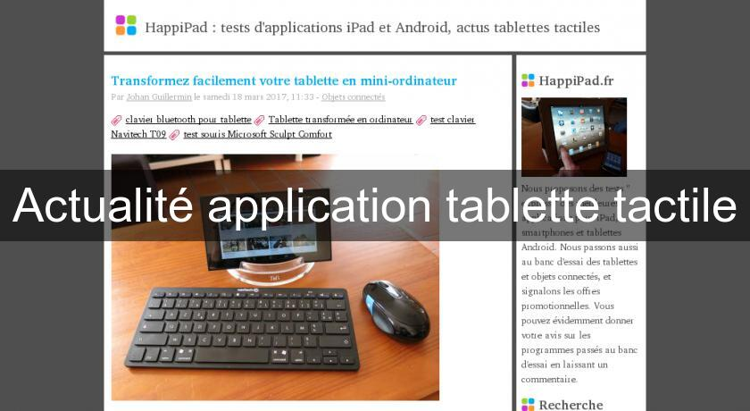Actualité application tablette tactile
