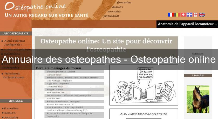 Annuaire des osteopathes - Osteopathie online