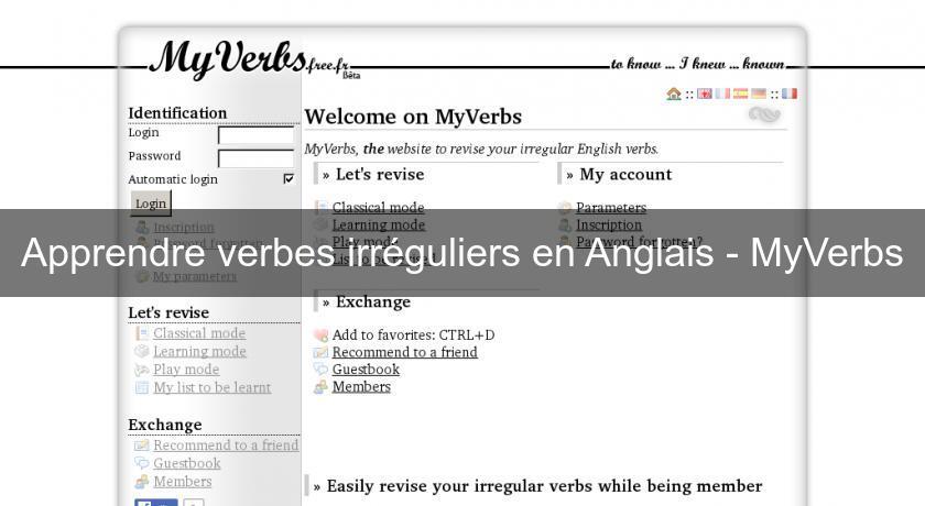 Apprendre Verbes Irreguliers En Anglais Myverbs Cours Et Soutien Scolaire En Ligne