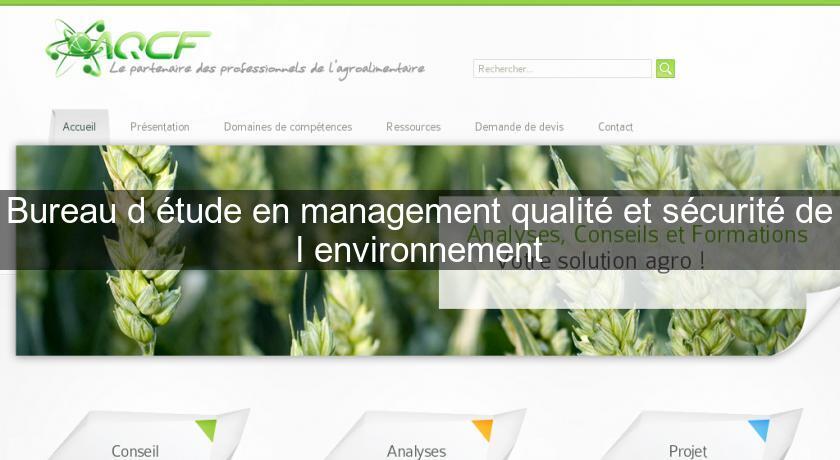 Bureau D Etude En Management Qualite Et Securite De L Environnement