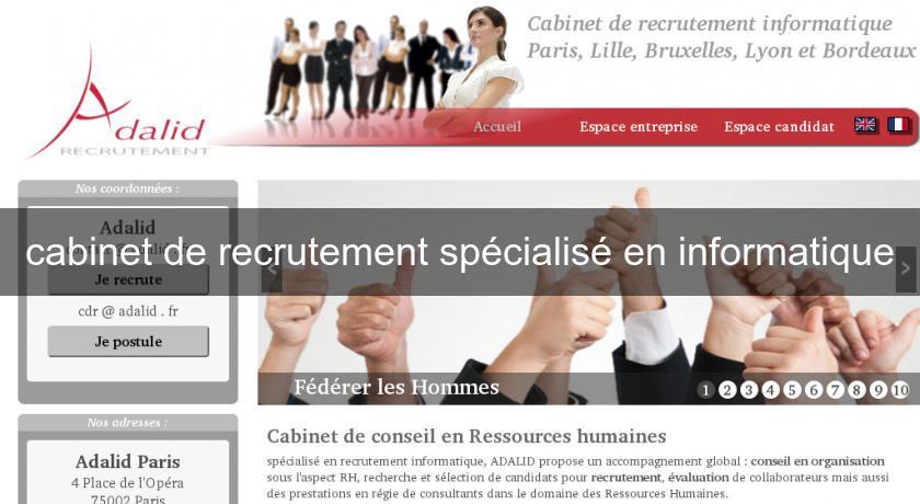 Cabinet de recrutement sp cialis en informatique emplois et formations - Cabinet de recrutement finance de marche ...