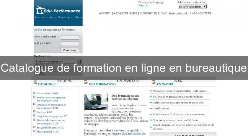 Catalogue de formation en ligne en bureautique formation for Catalogue de plantes par correspondance
