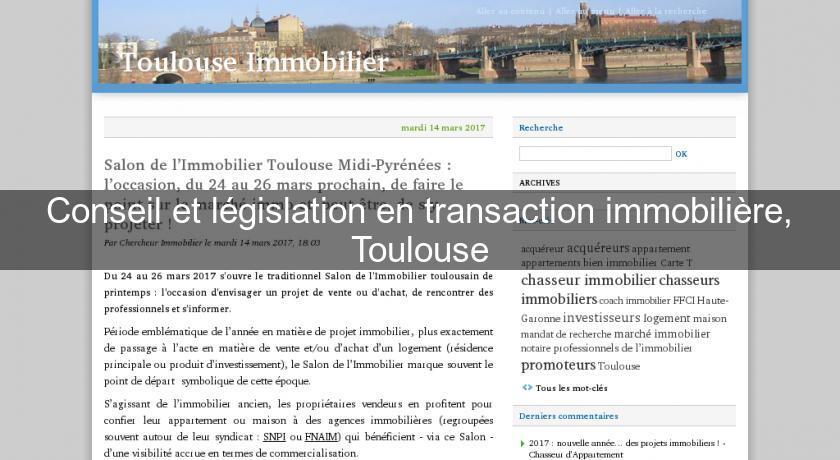 Conseil et l gislation en transaction immobili re for Transaction immobiliere