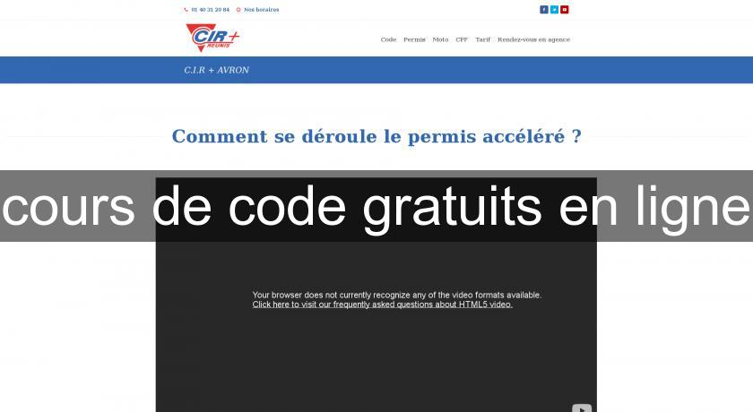 cours de code gratuits en ligne les permis. Black Bedroom Furniture Sets. Home Design Ideas