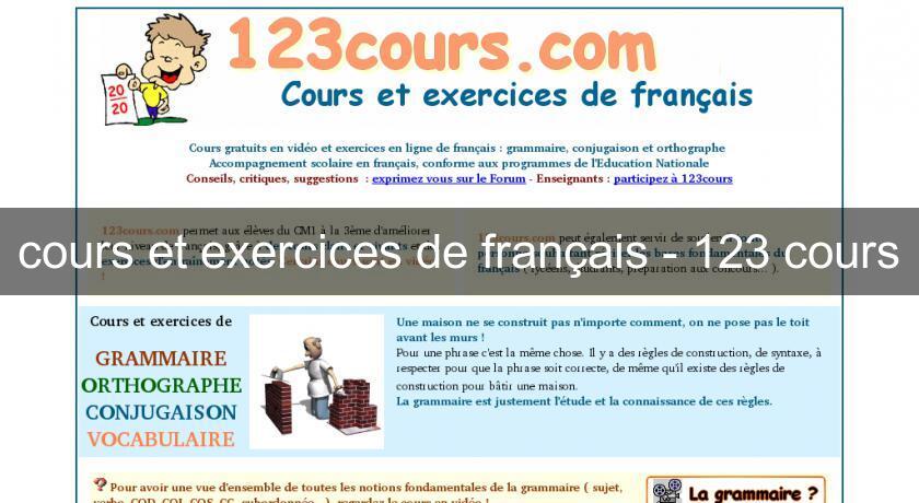 Cours Et Exercices De Francais 123 Cours Cours Et Soutien Scolaire En Ligne