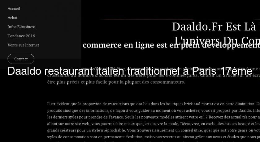 Daaldo restaurant italien traditionnel à Paris 17ème